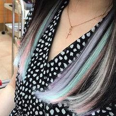 エクステ ユニコーン ロング ガーリー ヘアスタイルや髪型の写真・画像