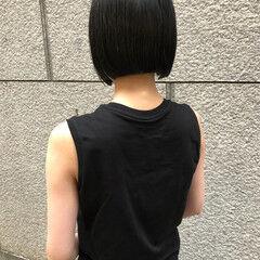 ストレート モード かっこいい 切りっぱなしボブ ヘアスタイルや髪型の写真・画像