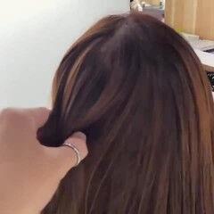 セミロング ダークトーン ブラウンベージュ ヌーディベージュ ヘアスタイルや髪型の写真・画像