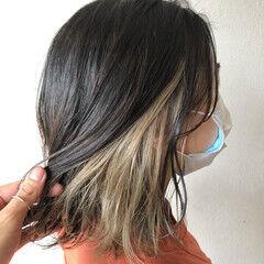 ヌーディベージュ ミルクティーベージュ モード ミディアム ヘアスタイルや髪型の写真・画像