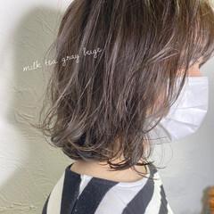 アッシュグレージュ モテボブ ナチュラル ボブ ヘアスタイルや髪型の写真・画像