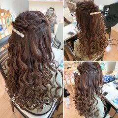 巻き髪 リボン ロング フェミニン ヘアスタイルや髪型の写真・画像