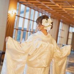 花嫁 卒花嫁 セミロング ヘアアレンジ ヘアスタイルや髪型の写真・画像