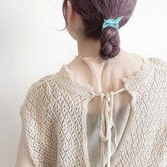 ラベンダーカラー ミディアム ヘアアレンジ おだんご ヘアスタイルや髪型の写真・画像