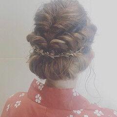 成人式ヘア ヘアアレンジ ナチュラル 花火大会 ヘアスタイルや髪型の写真・画像