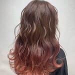 ガーリー グラデーションカラー ピンク 春色