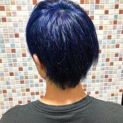 ストリート ショート ブルー メンズカラー ヘアスタイルや髪型の写真・画像