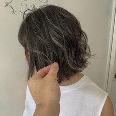 ボブ バレイヤージュ コントラストハイライト トレンド ヘアスタイルや髪型の写真・画像