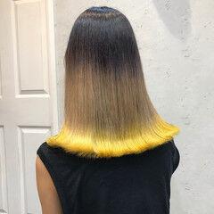 ガーリー ブリーチカラー グラデーションカラー ミディアム ヘアスタイルや髪型の写真・画像