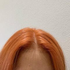 オレンジベージュ オレンジブラウン オレンジカラー ショート ヘアスタイルや髪型の写真・画像