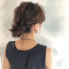 シニヨン セミロング エレガント ヘアセット ヘアスタイルや髪型の写真・画像