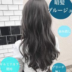 ナチュラル インナーカラー アッシュグレージュ ロング ヘアスタイルや髪型の写真・画像