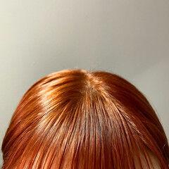 オレンジカラー ブラットオレンジ ショート ヘアカラー ヘアスタイルや髪型の写真・画像