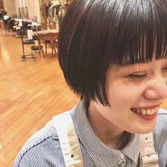 ワイドバング ショートボブ ぱっつん モード ヘアスタイルや髪型の写真・画像