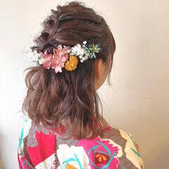 フェミニン ヘアセット お呼ばれヘア 切りっぱなしボブ ヘアスタイルや髪型の写真・画像