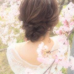 結婚式ヘアアレンジ ヘアセット 花嫁 モテ髪 ヘアスタイルや髪型の写真・画像