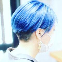 ブルーアッシュ ブルー ベリーショート ショート ヘアスタイルや髪型の写真・画像