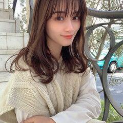 韓国ヘア ナチュラル ゆるふわパーマ ミルクティーブラウン ヘアスタイルや髪型の写真・画像