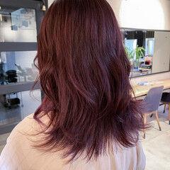 透明感カラー ミディアム ラベンダー ピンクバイオレット ヘアスタイルや髪型の写真・画像