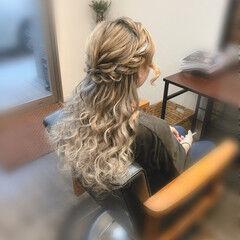 ねじり 結婚式 ロング ロープ編みアレンジヘア ヘアスタイルや髪型の写真・画像