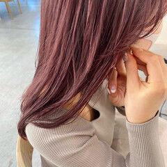 ブリーチなし ピンクベージュ ナチュラル ラベンダーピンク ヘアスタイルや髪型の写真・画像