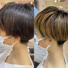 ナチュラル 刈り上げ女子 大人ハイライト 刈り上げショート ヘアスタイルや髪型の写真・画像
