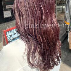 ラベンダー フェミニン ハイトーンカラー ロング ヘアスタイルや髪型の写真・画像