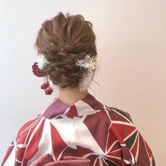 簡単ヘアアレンジ 浴衣アレンジ 結婚式ヘアアレンジ ミルクティーアッシュ ヘアスタイルや髪型の写真・画像