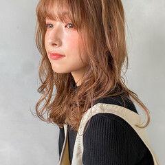 韓国ヘア 韓国 透明感カラー セミロング ヘアスタイルや髪型の写真・画像