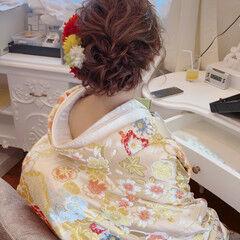 和装ヘア ヘアセット 和装 フェミニン ヘアスタイルや髪型の写真・画像