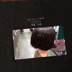 ボブ ショートボブ モード 黒髪ショート ヘアスタイルや髪型の写真・画像