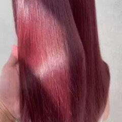 ハイトーンカラー ロング ハイトーン レッドカラー ヘアスタイルや髪型の写真・画像