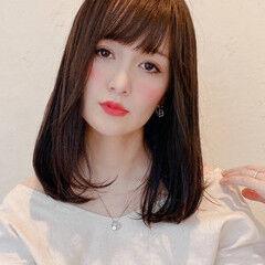 ワンカールスタイリング ダークトーン ワンカール フェミニン ヘアスタイルや髪型の写真・画像