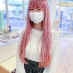 ピンク ロング ガーリー 透明感カラー ヘアスタイルや髪型の写真・画像