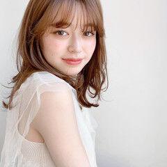 シースルーバング フェミニン ミディアム ひし形シルエット ヘアスタイルや髪型の写真・画像