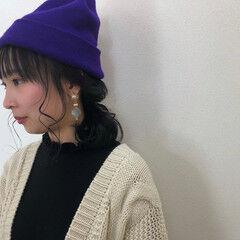 秋冬スタイル ストリート 帽子アレンジ ヘアアレンジ ヘアスタイルや髪型の写真・画像