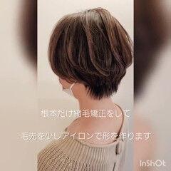 縮毛矯正 ハンサムショート ショートヘア 小顔ショート ヘアスタイルや髪型の写真・画像