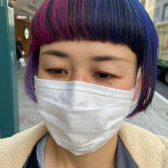 ミディアム ピンクバイオレット バイオレットカラー デザインカラー ヘアスタイルや髪型の写真・画像