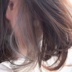 #インナーカラー ボブ ナチュラル インナーカラー ヘアスタイルや髪型の写真・画像