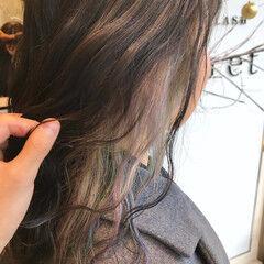 ナチュラル オーロラカラー ユニコーンカラー ミディアム ヘアスタイルや髪型の写真・画像