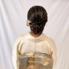 セミロング 和装ヘア エレガント 浴衣アレンジ ヘアスタイルや髪型の写真・画像