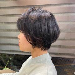 ミニボブ ショートボブ ゆるふわセット 切りっぱなしボブ ヘアスタイルや髪型の写真・画像