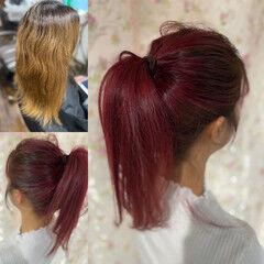 エレガント ベリーピンク ブリーチオンカラー ラズベリーピンク ヘアスタイルや髪型の写真・画像