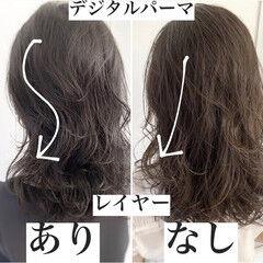 イルミナカラー セミロング グレージュ かき上げ前髪 ヘアスタイルや髪型の写真・画像