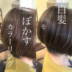 大人カラー 白髪染め ショート グレーカラー ヘアスタイルや髪型の写真・画像