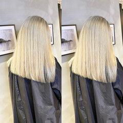 外国人風 ブリーチ 透明感 セミロング ヘアスタイルや髪型の写真・画像