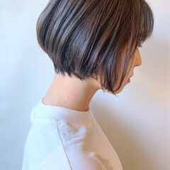 黒髪 ナチュラル ショートボブ 丸みショート ヘアスタイルや髪型の写真・画像