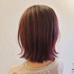外はね ピンク ナチュラル 大人ミディアム ヘアスタイルや髪型の写真・画像