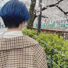ブルー ショート マッシュショート ネイビーブルー ヘアスタイルや髪型の写真・画像