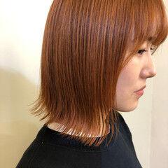 ボブ オレンジカラー 切りっぱなしボブ カッパー ヘアスタイルや髪型の写真・画像